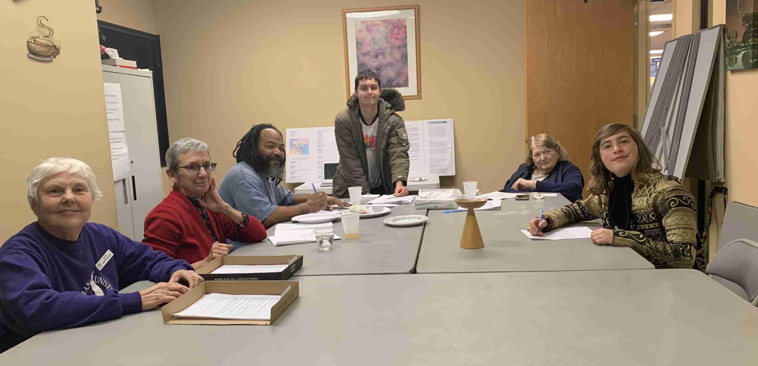 photo of congregants around table
